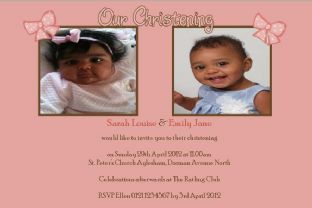 Personalised Girl Twins Christening Photo Invitations